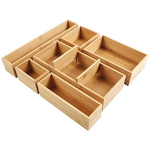 Kootek Adjustable Bamboo Drawer Organizers Utensil Tray Kitchen Storage Organizer 6-Piece Cutlery...