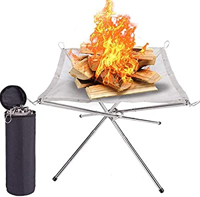 T.G.Y Portable Outdoor Fire Pit - 2020 New Upgrade, 22 Inch Camping Stainless Steel Mesh Fireplace, Ultra Foldable Fire Pit for Patio, Camping, Barbecue, Backyard and Garden