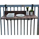 zyifan Outdoor Side Tables Outdoor Indoor Folding Hanging Table, Adjustable Balcony Hanging Railing Table,Small Apartment Computer Desk, Bar Lifting Folding Desk, for Patio Garden Deck