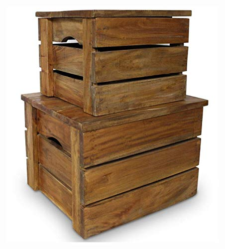Buy K&A Company Storage Chest, Storage Crate Set 2 Pieces Solid Reclaimed Wood