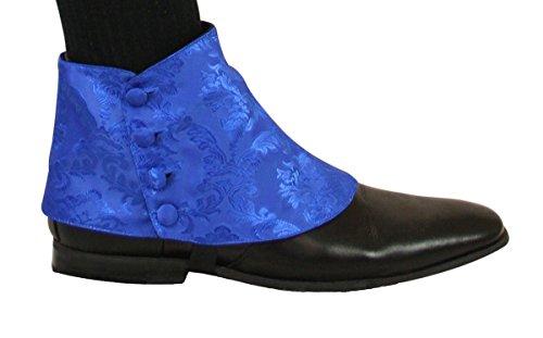 Historical Emporium Men's Premium Satin Jacquard Button Spats L Blue