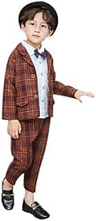 Burning Go 男の子 フォーマル スーツ チェック柄 ジャケット カッコイイ 子供スーツ 洋服 子供用 結婚式 発表会 紳士服 セット