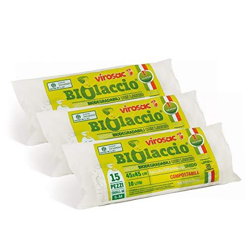 Virosac 137233 Sacchetti per Rifiuti Biodegradabili con Laccio di Chiusura Brevettato