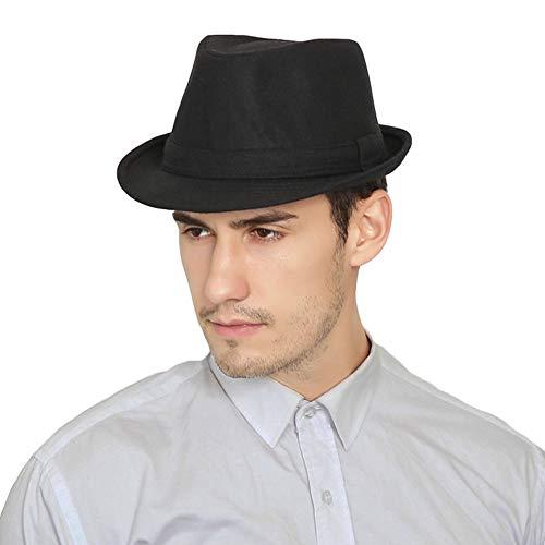 RIONA 中折れ ハット メンズ 秋冬 折りたたみ サイズ調節可 ウール 帽子 ブラック 56cm 57cm 58cm 59cm