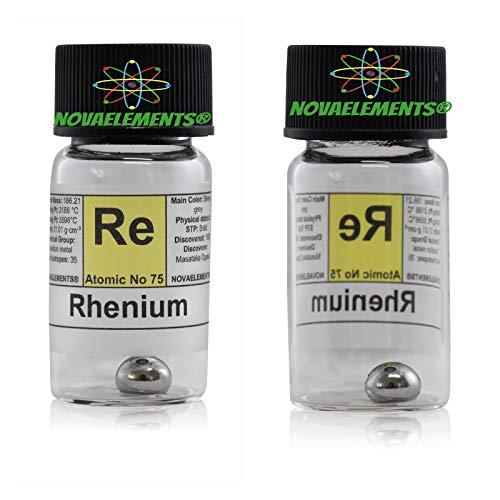 Rhenium Element 75 König, Meister Pure 0,5 -0, 7 Gramm 99,99 % in Ampoule aus Glas mit Etikett