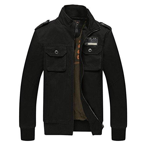 H.T.Niao Jacket8201C2 Men 's Fashion Slim Collar Jackets(Black,Size L)