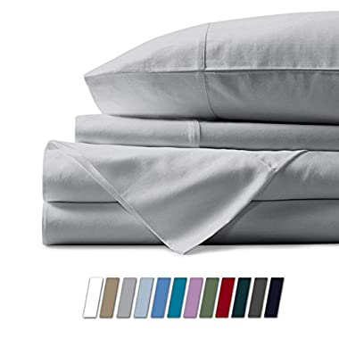 Mayfair Linen 600 Thread Count 100% Cotton Sheets - Silver Long-staple Cotton Queen Sheets, Fits Mattress Upto 18'' Deep Pocket, Sateen Weave, Soft Cotton Bed Sheets and Pillowcases by