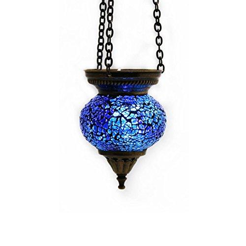 Mosaik Lampe Hängelampe Windlicht Pendelleuchte Aussenleuchte Deckenleuchte aus Glas Blau Klein Teelichthalter Orientalisch Handarbeit dekoration - Gall&Zick