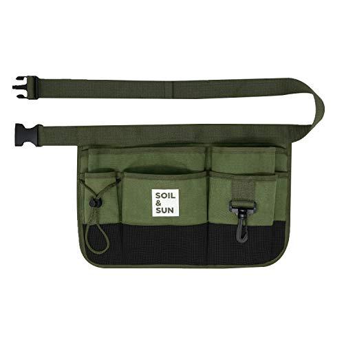 Soil and Sun Garden Apron Utility Belt Women Utility Belt Men Womens Tool Belt Pouches Waist Apron with Pockets (Green)