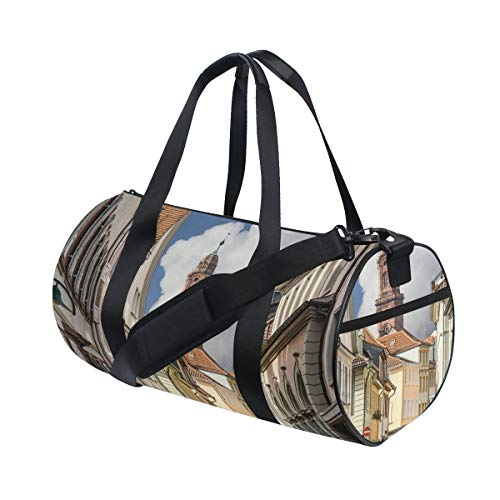 HARXISE Sporttasche Reisetasche,Europäische Heidelberger Straßen drucken,Schultergurt Handgepäck für Übernachtung Reisen