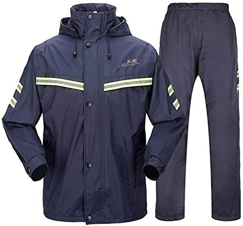 YXF Traje impermeable para hombre para hombre, impermeable, chaqueta para abrigo, pantalones de trabajo, camping, pesca (color azul marino, tamaño: XL - número)