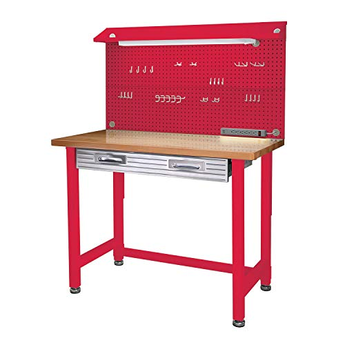 Seville Classics UltraHD Lighted Workbench Red Mart4u