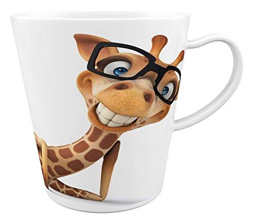 Hipster Giraffe mit Brille |Latte Macchiato Becher Kaffeebecher mit Fotodruck |008