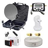 PremiumX Camping Sat Anlage Koffer Mobil Digital Sat-Finder Single LNB 10m Koaxial Kabel Mini HD TV Satelliten-Receiver