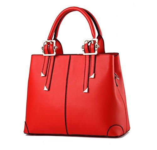 QUBABOBO Donna Borsa di cuoio dell'unità di elaborazione maniglia superiore borse sacchetti di spalla di moda Grande Rosso
