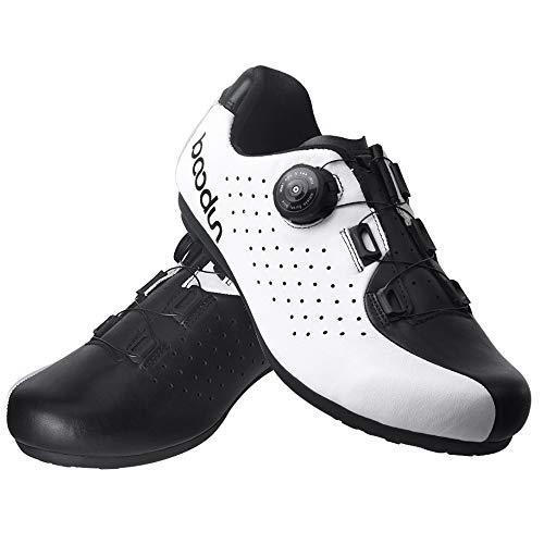 KUXUAN Zapatillas De Ciclismo para Hombre,Zapatillas De Bicicleta MTB Unisex Adultos Techne,Suela - Caucho,White+Black-42EU