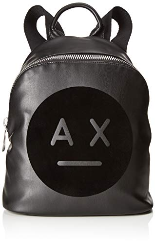 Armani Exchange - Graphic Logo Backpack, Bolsos mochila Mujer, Negro (Nero), 31.0x15.0x27.0...