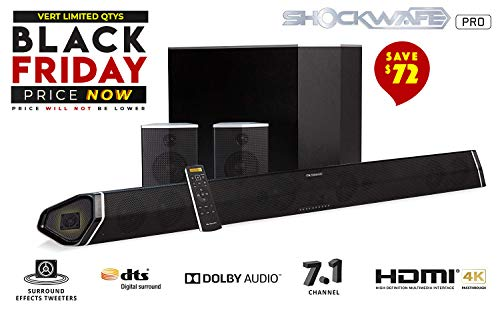 "Nakamichi Shockwafe Pro 7.1Ch 400W 45' Sound Bar with 8"" Subwoofer (Wireless) & Rear Satellite..."