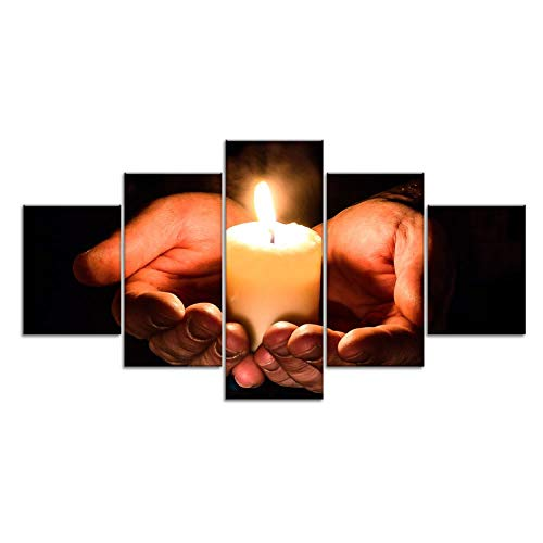 Murosn Kerze Gebet Gebet Meditation Leinwand Druck Gemälde gerahmte Wohnkultur Wandkunst