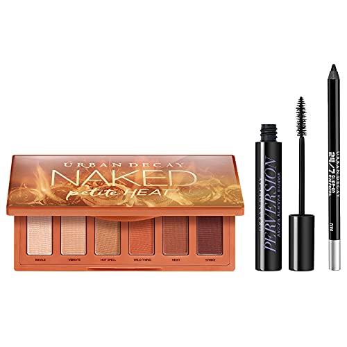 Urban Decay Eye Makeup Set - Naked Petite Heat Eyeshadow Palette + Perversion Volumizing Mascara + 24/7 Glide-On Waterproof Eyeliner Pencil