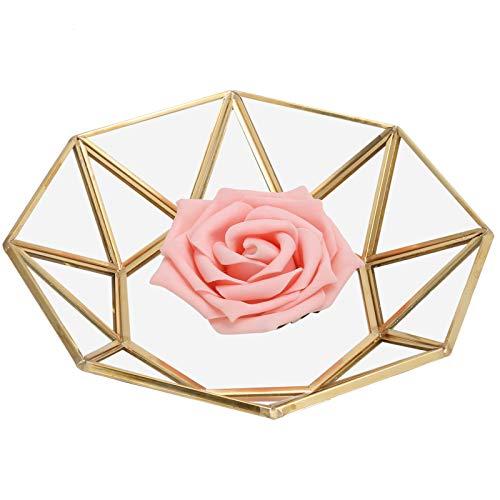 Rosvola 【𝐎𝐬𝐭𝐞𝐫𝐟ö𝐫𝐝𝐞𝐫𝐮𝐧𝐠𝐬𝐦𝐨𝐧𝐚𝐭】 Achteckige Glasschale, 17,5 x 17,5 x 3,5 cm Blumenpflanzschale, Glas + Kupfer Starke, haltbare Dessertplatte für Sukkulenten von Mooskakteenfarnen