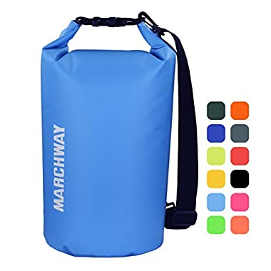 MARCHWAY Floating Waterproof Dry Bag 5L/10L/20L/30L, Roll Top Dry Sack for Kayaking, Rafting, Boating, Swimming, Camping, Hiking, Beach, Fishing, Skiing, Snowboarding (Light Blue, 10L)