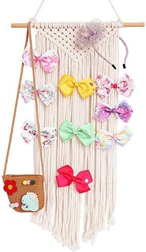 Habbi Macrame Hair Bow Holder Girl Clip Bow Organizer Wall Hanging Decor Hanging Hair Clips product image