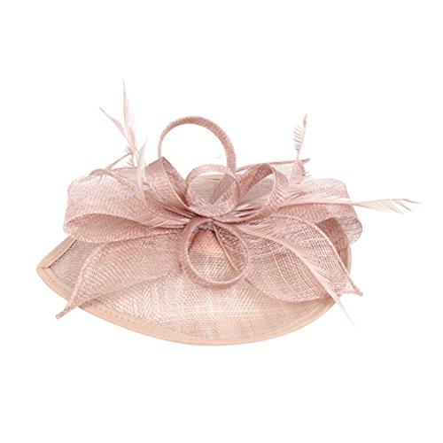 Frcolor Chapeau de bibi, chapeau de fête de mariage Chapeau de feutre pour les femmes (rose)