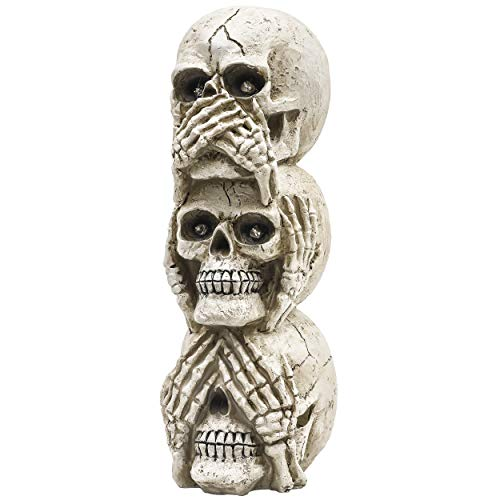 Valery Madelyn 24cm Halloween Dekoration, Vorbeleuchtete Schädelstatue mit Lichtern, Gruselige Figurenverzierungen für Halloween-Partydekoration und Happy Halloween-Thema