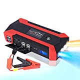 Portable Car Jump Starter Battery Pack with Air Compressor USB Led Flashlight 1000amp Peak 12V 12000mAh AC Outlet Power Bank for Gasoline Diesel Engines Motorcycle Truck Charger Tire Inflator (Red)