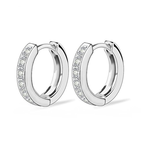 SELOVO Girl's Women's Cubic Zirconia Round Huggie Hoop Earrings Sleeper Crystal Silver Tone White