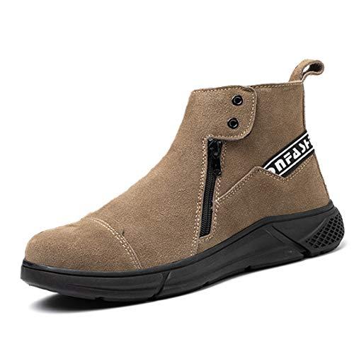 LANMOU Botas de Seguridad para Hombres Mujer Deportivo Zapatos de Trabajo para Correr Calzado Casual de Fitness al Aire Libre Impermeables,Marrón,45 EU