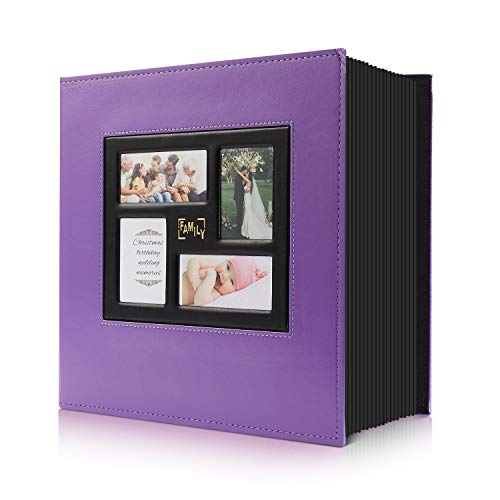 Photo Album 4x6 1000 Pockets Photos, Extra Large Capacity Family Wedding Picture Albums Holds 1000 Horizontal and Vertical Photos (1000Pockets, Purple)