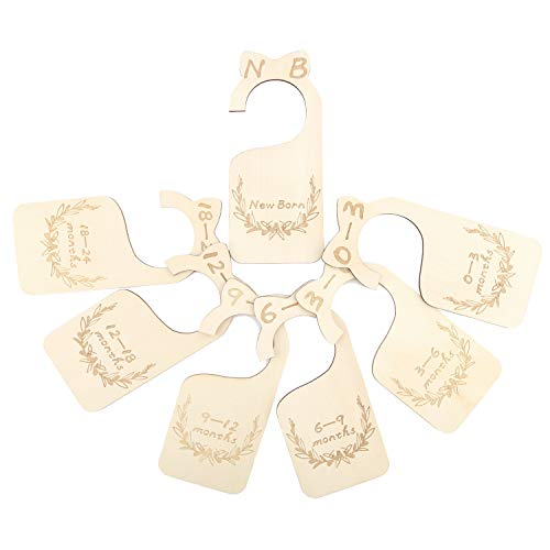 SAVITA 7pcs Wooden Baby Closet Dividers, from New-Born to 24 Months, Wood Baby Cloth Organizers Infant Wardrobe Dividers for Baby Boy&Girl Clothes Sorting, Nursery Decors