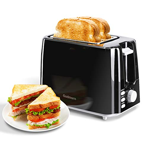 Godmorn 2 Slice Toaster, Bread Toaster with 7 Variable Browning Control, Wide Slots, Removable Crumb Tray, Defrost Reheat Cancel Function, 750W, BPA Free - Black
