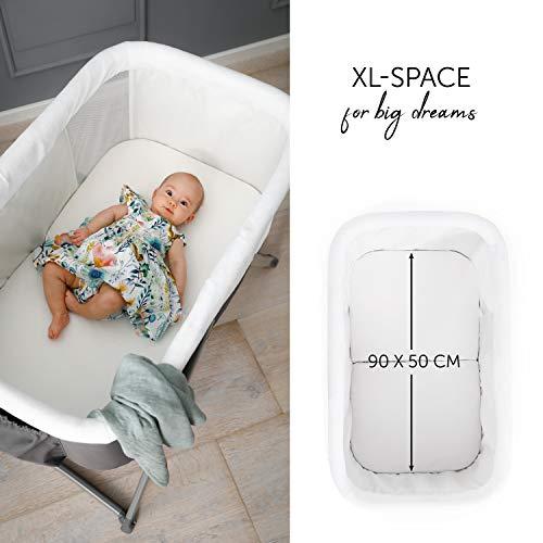 Hauck Dreamer Babywiege/Stubenwagen/Beistell-/Reisebett, inkl. Matratze und Spielzeugtasche, mit Schaukelfunktion, faltbar, klappbar und tragbar, Grau - 5