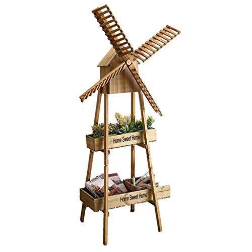 RUNWEI Madera Molino de Viento holandés Patio Trasero Decoraciones - clásico Pasado de Moda del Molino de Viento for jardín, Patio
