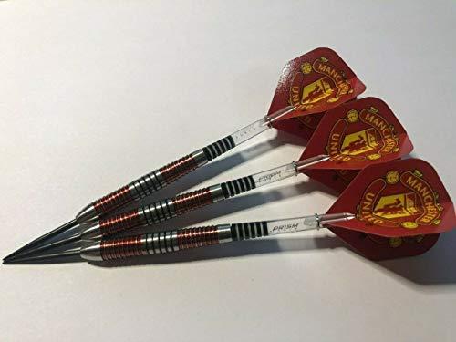 Nodor Manchester United FC Dart-Set, 24 g, 90 % Wolfram, Winmau-Prisma-Schäfte, offizielles MUFC-Produkt.