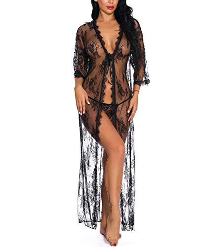 ShinyStar Damen Dessous Kleid Lang Kimono Spitzekleid Negligee Nachtwäsche Transparente Robe Set mit G-String Schwarz L