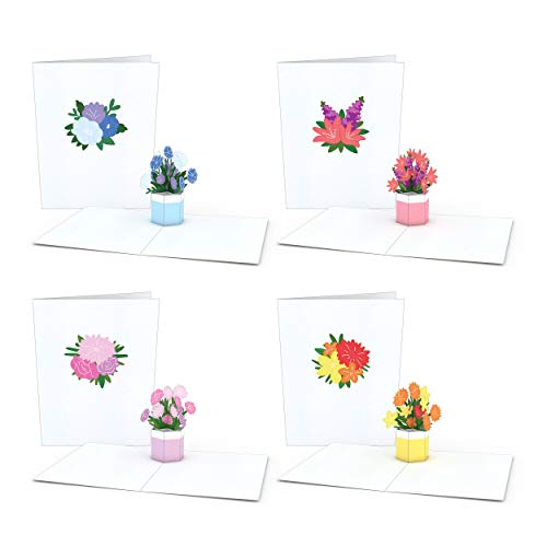 Lovepop Notecard 4-Pack Pop Up Cards, Flower Bouquet Cards, Thank You Cards With Envelopes, Thank You Notes Greeting Cards, 3D Card, Greeting Card, Pop Up Notecard