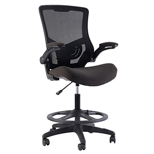 KLASIKA Tall Mesh Ergonomic Drafting Chair with Flip-up Arms Rest and Foot Ring for Home Office
