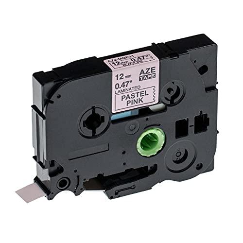 vhbw Casete cinta de escritura compatible con Brother P-Touch 1250S, 1250VP, 1250VPS, 1260VP, 1280 impresora etiquetas 12 mm Negro a Rosa pastel