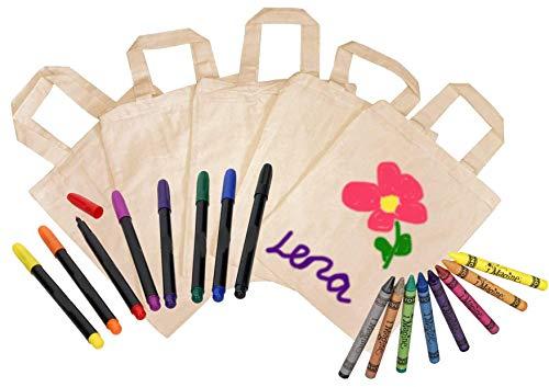 10x Tragetaschen, natur, zum selbst gestalten + 8 Textilmalstifte + 8 Textilmalstifte wie Faserstifte, auch als Mitgebseltüten zum Kindergeburtstag