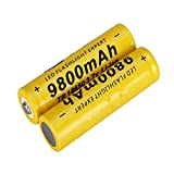 WSXYD 18650 Batteria agli Ioni di Litio, Batteria Ricaricabile da 3,7 v 9800 mAh per Torcia a LED Illuminazione di Emergenza Dispositivi Portatili Strumenti 2pcs