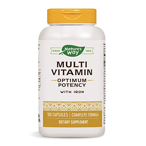 Nature's Way Multivitamin Optimum Potency with Iron, Dietary Supplement For Men & Women, 180 Capsules