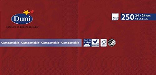 Duni 168415 3 plis Serviettes en papier, 24 cm x 24 cm, Bordeaux (lot de 2000)