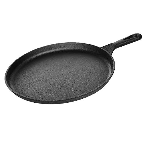 """Kookantage Cast Iron Round Griddle 10.5"""" Pan - Pre-Seasoned Skillet with Handle Grip Grill or BBQ Hot Plate Pans"""
