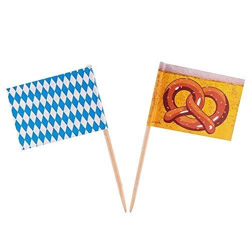 50 Pickser * OKTOBERFEST * Fähnen mit Holzpickser // Flag Party Feier Deko Motto Mottoparty Bayern Bier Flaggen Picker