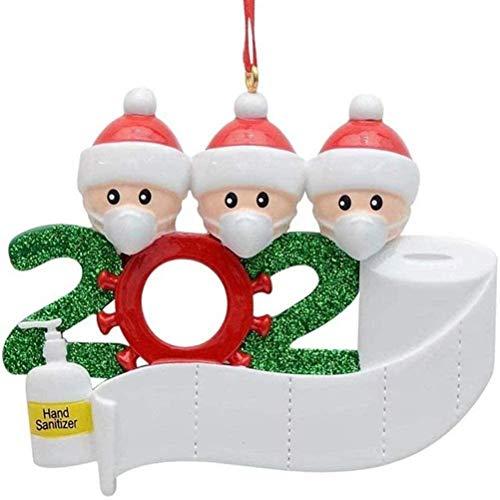 Adorno de Navidad 2020 Adorno de familia sobrevivido Adornos de árbol de Navidad Adornos navideños de árbol de Navidad Adornos colgantes de Navidad para árbol de Navidad Decoración (personas de 3)