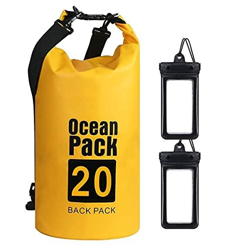 flintronic Bolsa Impermeable, 20L Mochila Impermeable IP66, para Canoa Kayak Barco Camping Natación Rafting Velo Pesca,Amarillo (Incluye 2 PCS Bolsa Impermeable para Teléfono Celular)
